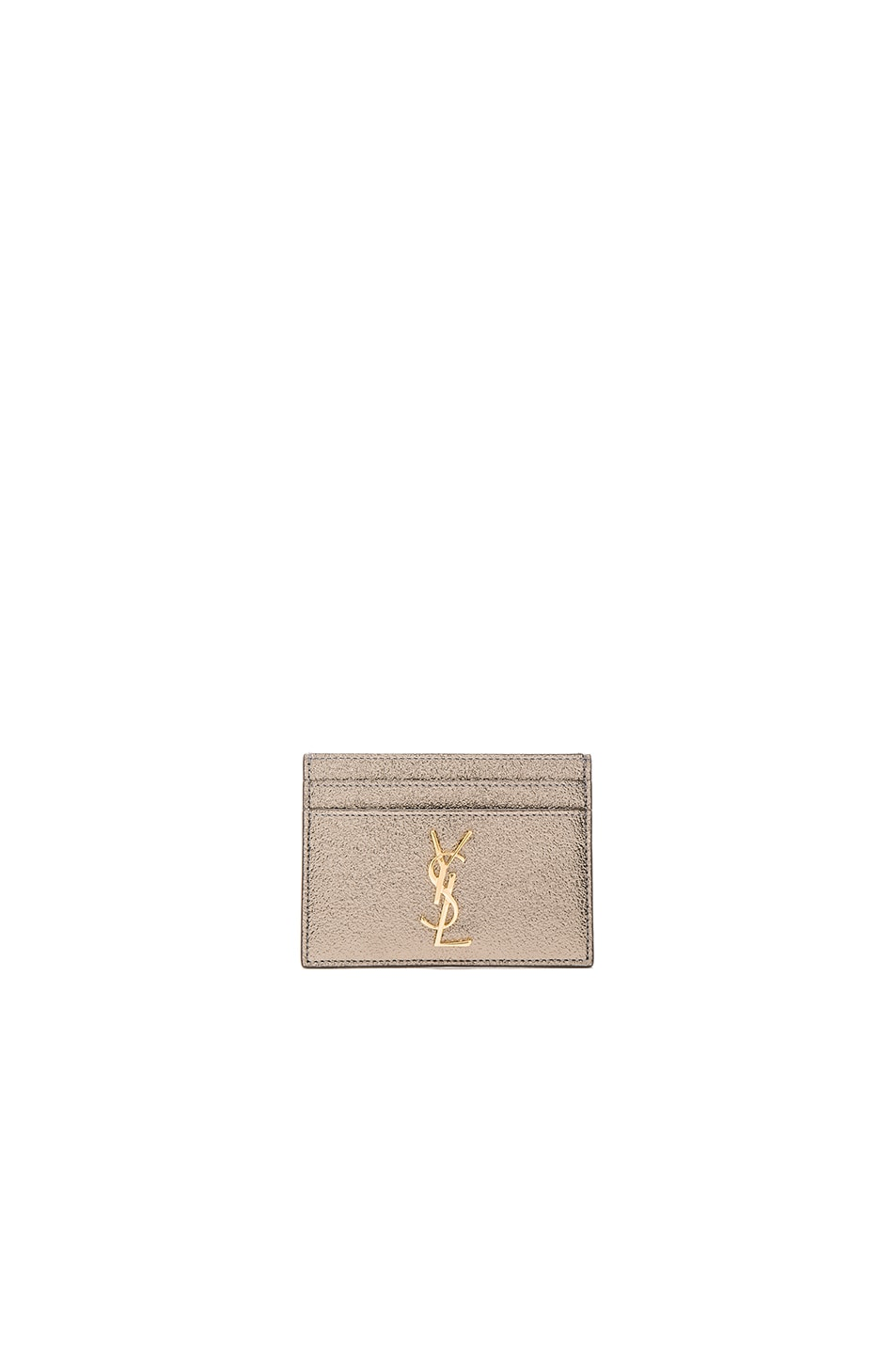 Image 1 of Saint Laurent Metallic Monogramme Credit Card Case in Grey Metal