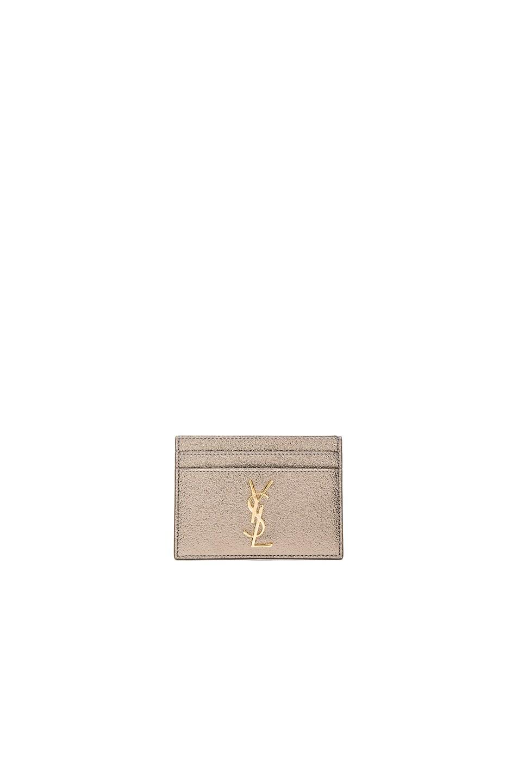 Image 1 of Saint Laurent Metallic Monogramme Credit Card Case in Grey Metal