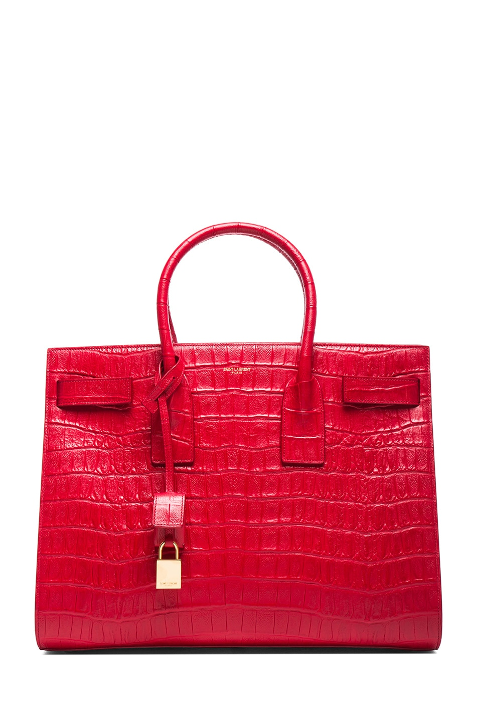 Image 1 of Saint Laurent Large Sac De Jour Croc Embossed Carryall Bag in Lipstick Red