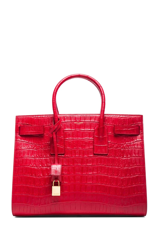 90a1b9ab2fbd Image 1 of Saint Laurent Large Sac De Jour Croc Embossed Carryall Bag in  Lipstick Red
