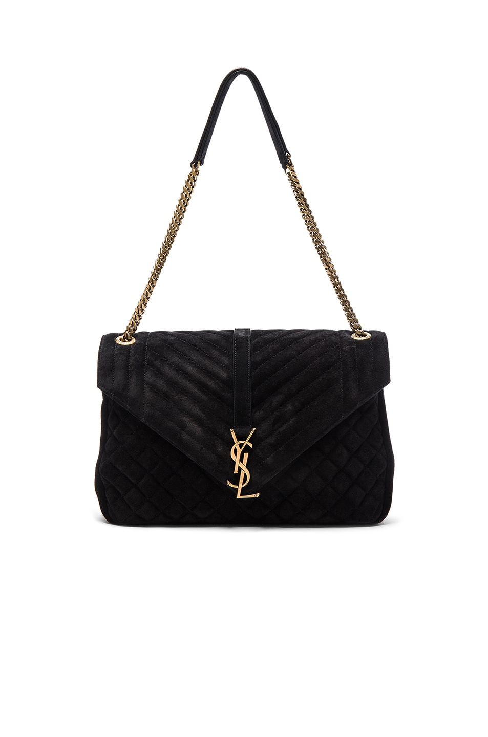 Image 1 of Saint Laurent Large Monogramme Slouchy Suede Chain Bag in Black