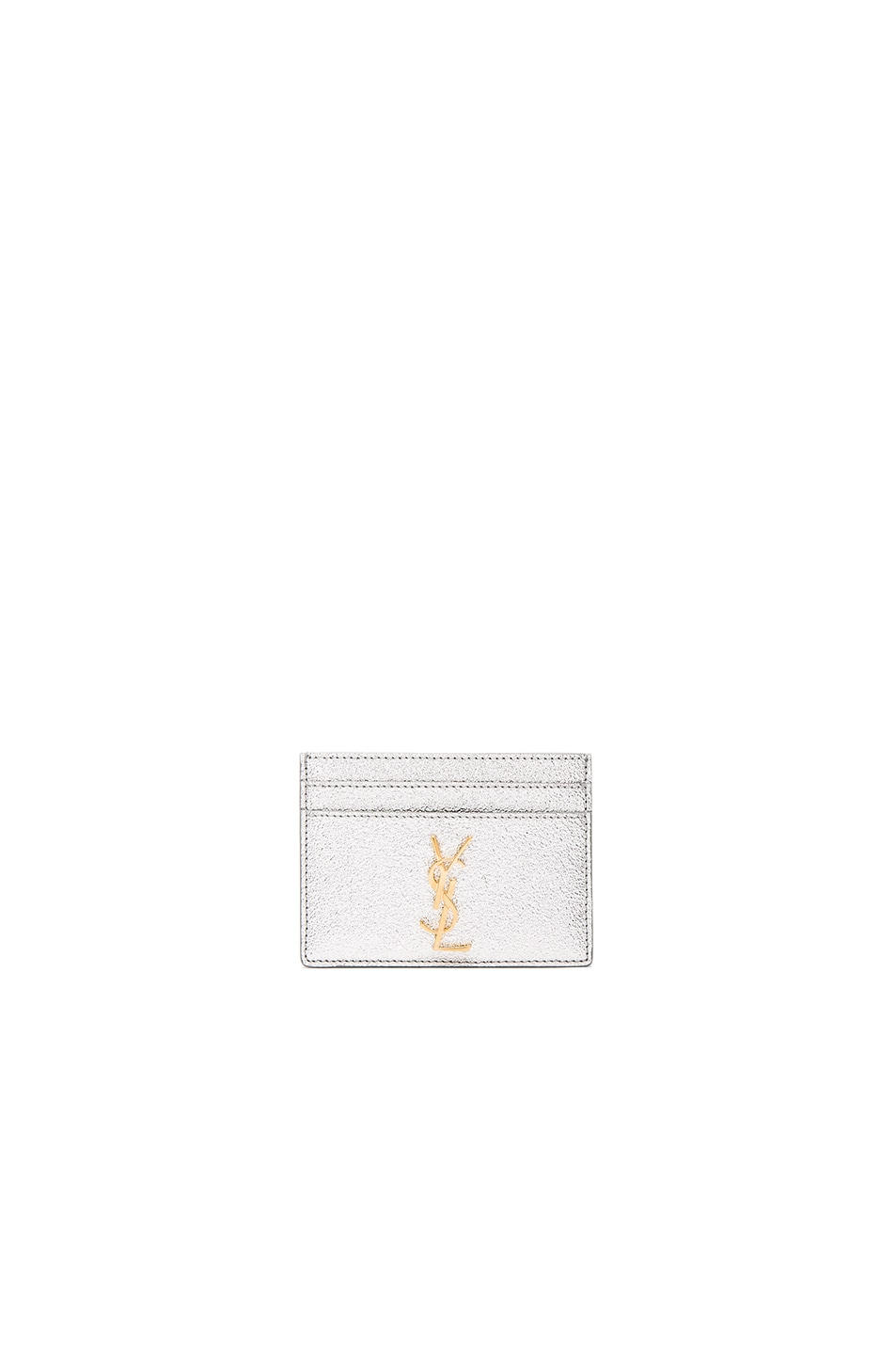 Image 1 of Saint Laurent Metallic Monogramme Credit Card Case in Platinum