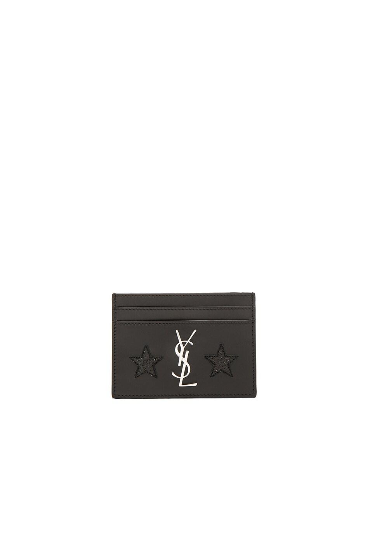 Image 1 of Saint Laurent California Monogram Credit Card Case in Black