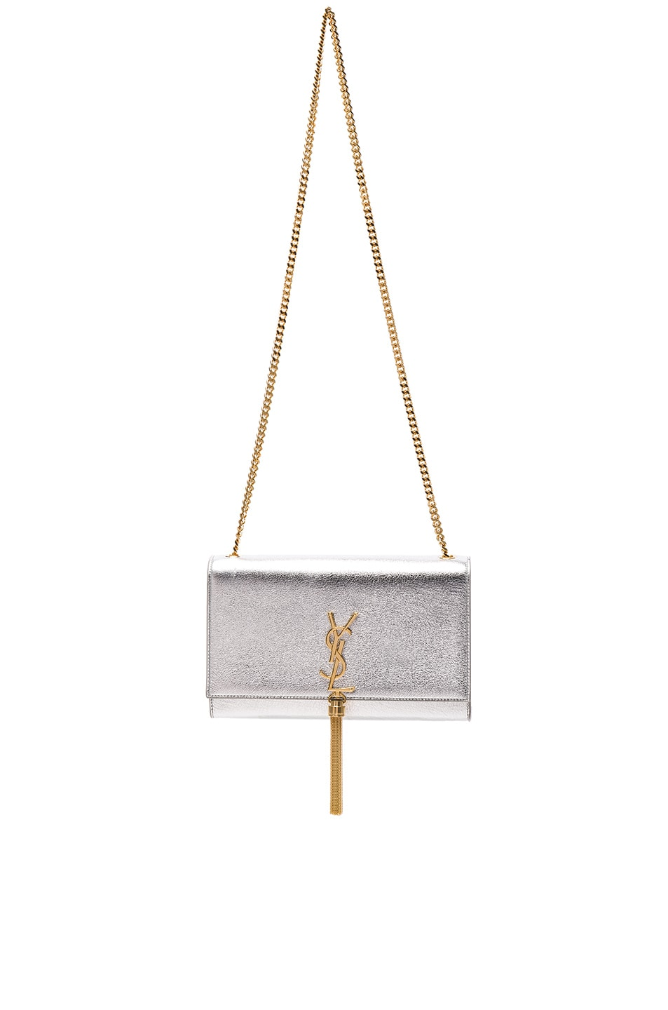 Image 1 of Saint Laurent Medium Monogramme Kate Tassle Chain Bag in Silver