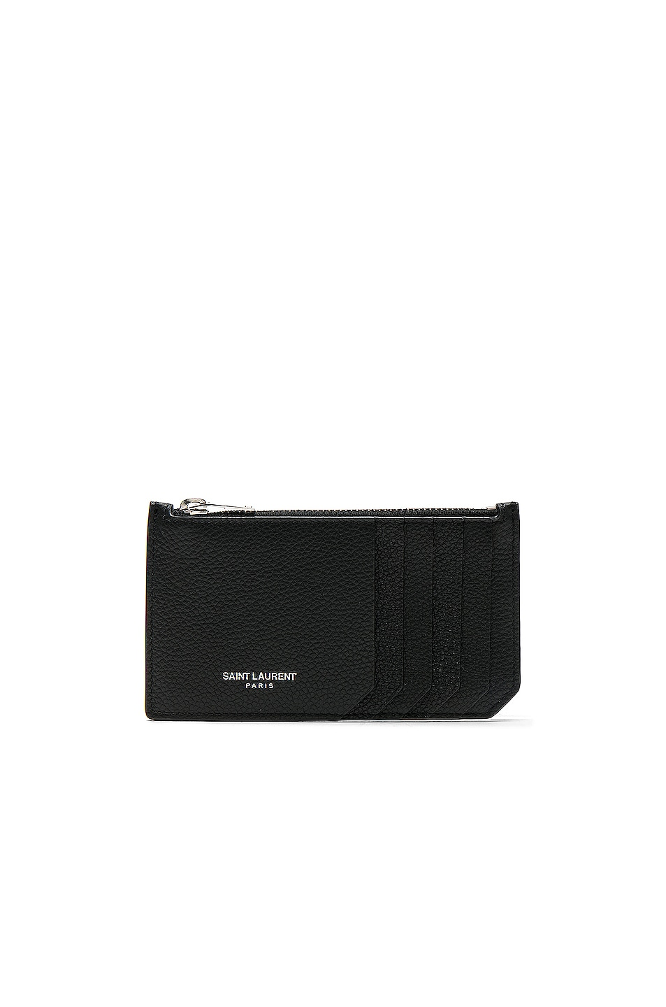 Image 1 of Saint Laurent Zipped Fragments Credit Card Case in Black