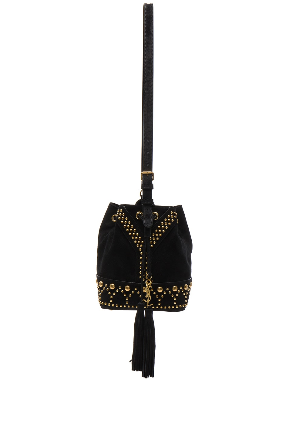 Image 1 of Saint Laurent Y Studs Small Bucket Bag in Black