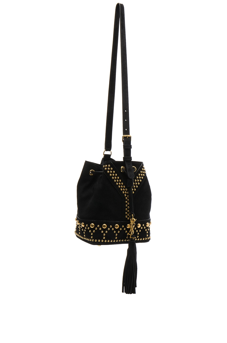 Image 3 of Saint Laurent Y Studs Small Bucket Bag in Black
