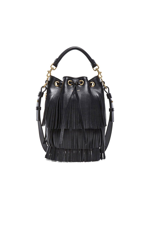 Image 1 of Saint Laurent Small Fringe Bucket Bag in Black