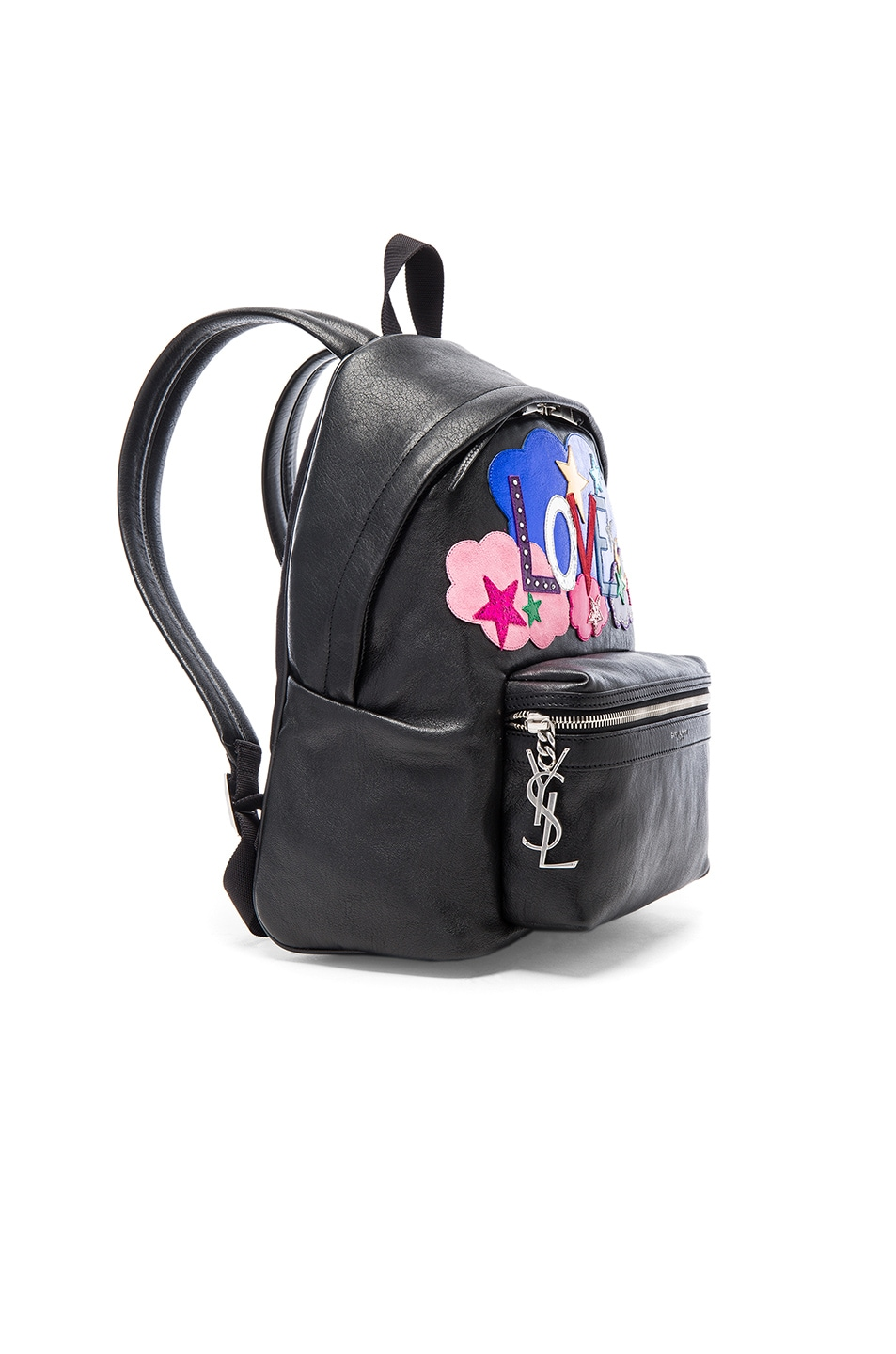Image 3 of Saint Laurent City Mini Love Backpack in Black & Multi Color