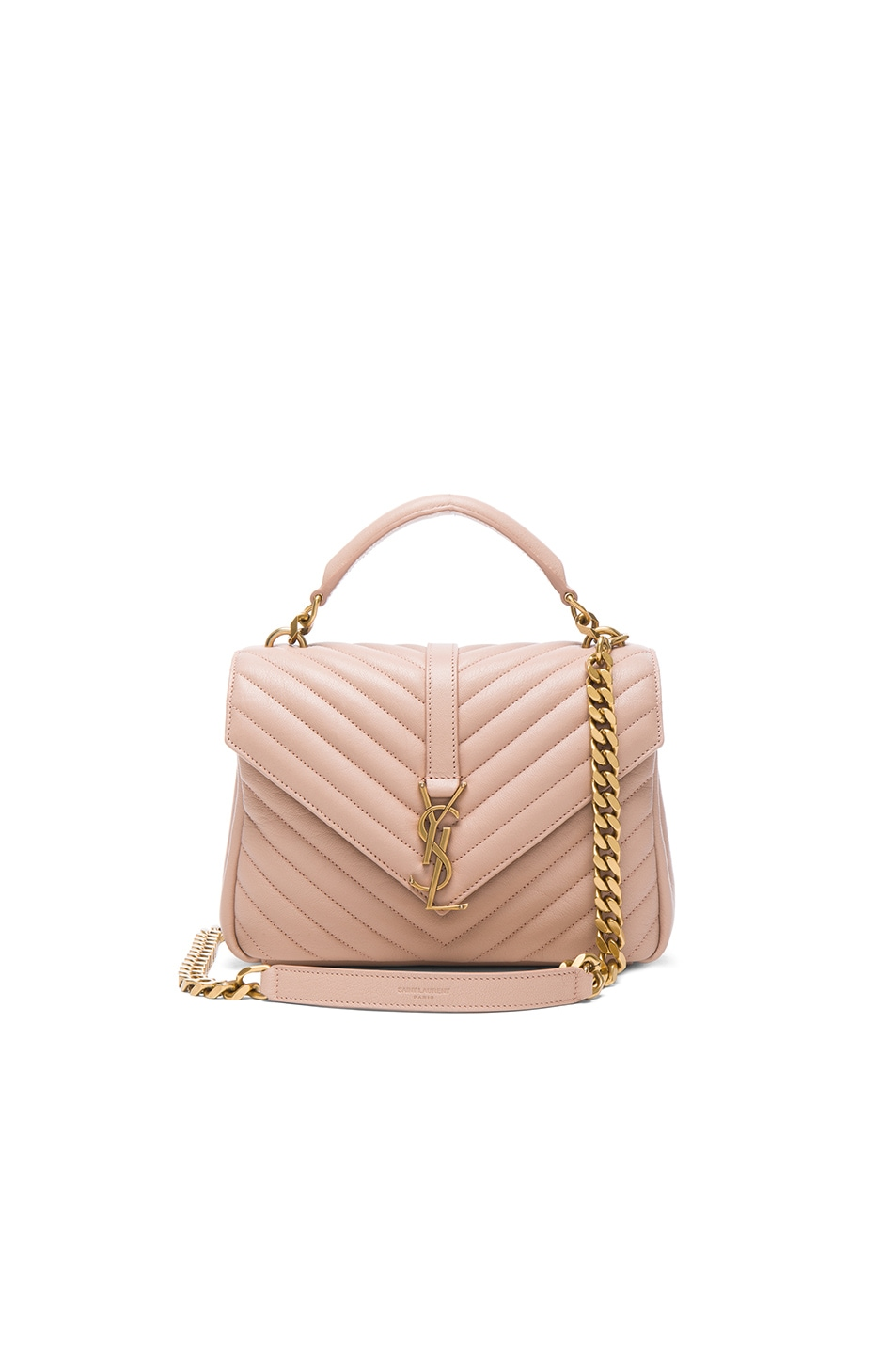 Image 1 of Saint Laurent Medium Monogramme College Bag in Nude Rose