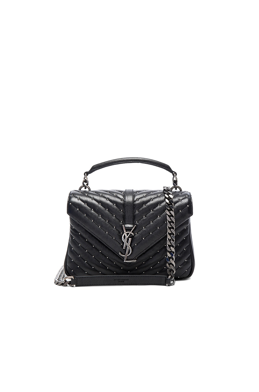 Image 1 of Saint Laurent Medium Studded Monogramme College Bag in Black