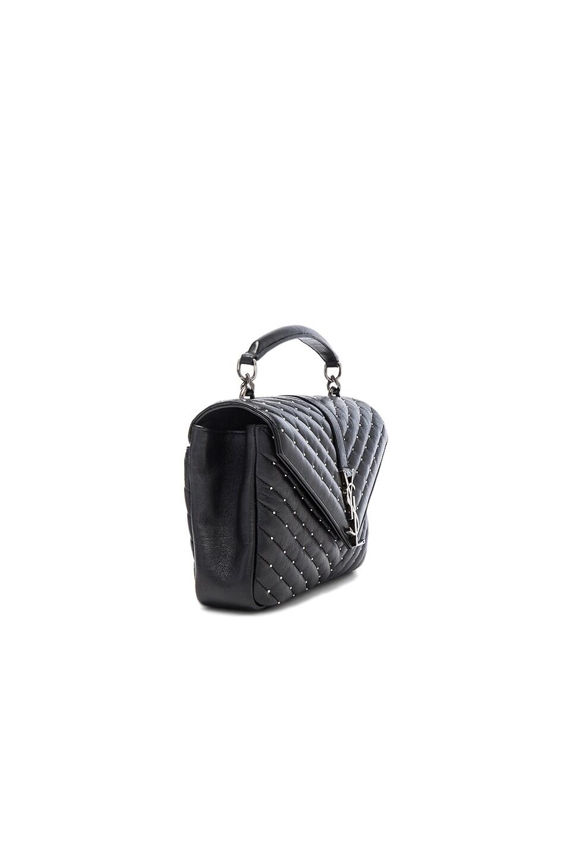 Image 3 of Saint Laurent Medium Studded Monogramme College Bag in Black