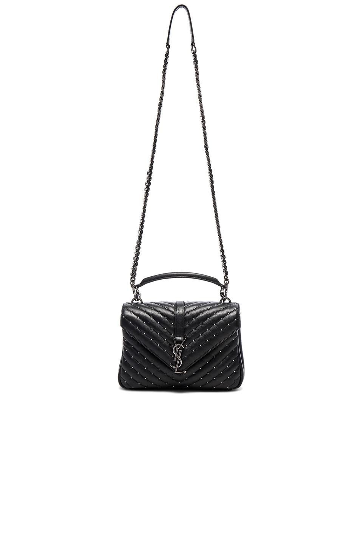 Image 5 of Saint Laurent Medium Studded Monogramme College Bag in Black