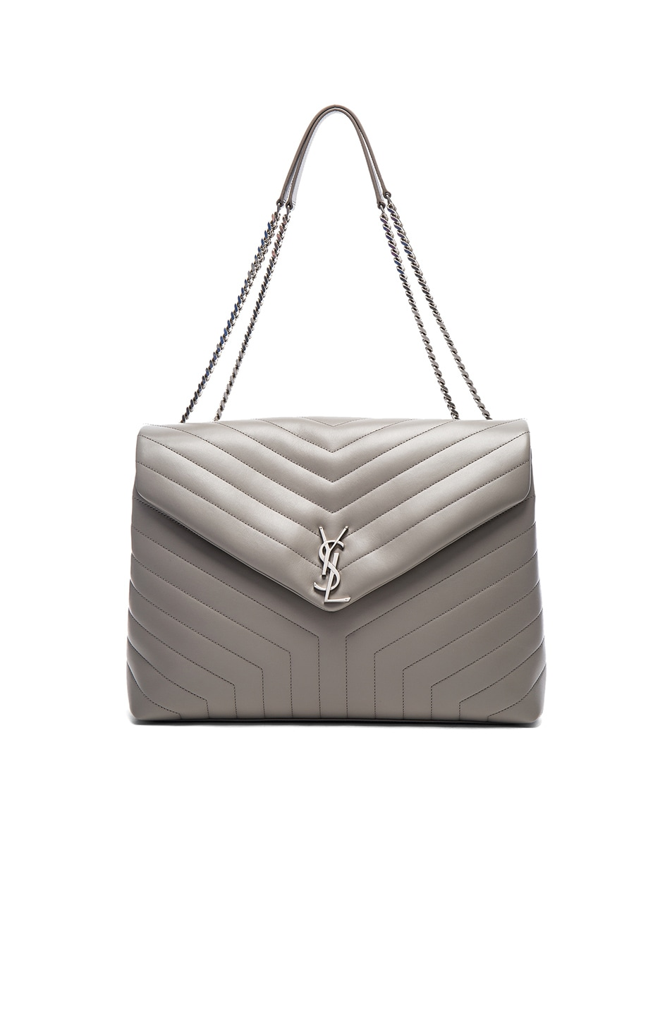 Image 1 of Saint Laurent Slouchy Large Monogramme Shoulder Bag in Pearl Grey