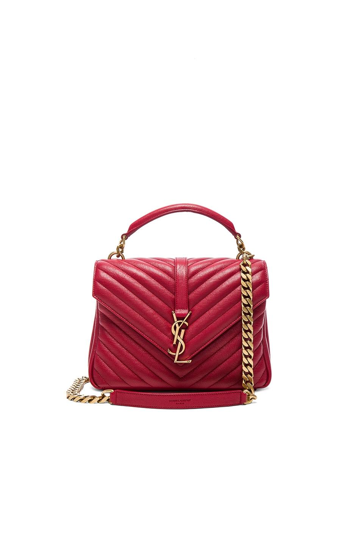 Image 1 of Saint Laurent Medium Monogramme College Bag in Rouge Lipstick