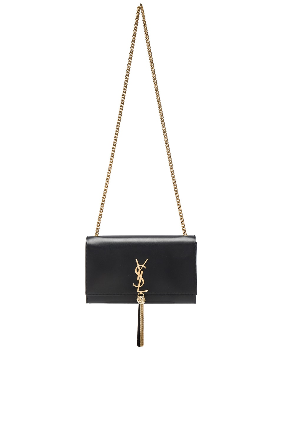 Image 1 of Saint Laurent Monogramme Kate Tassel Clutch in Black