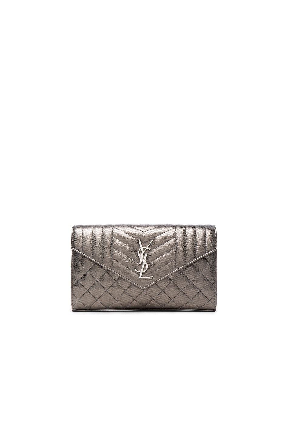 Image 1 of Saint Laurent Monogramme Envelope Chain Wallet in Graphite & Black