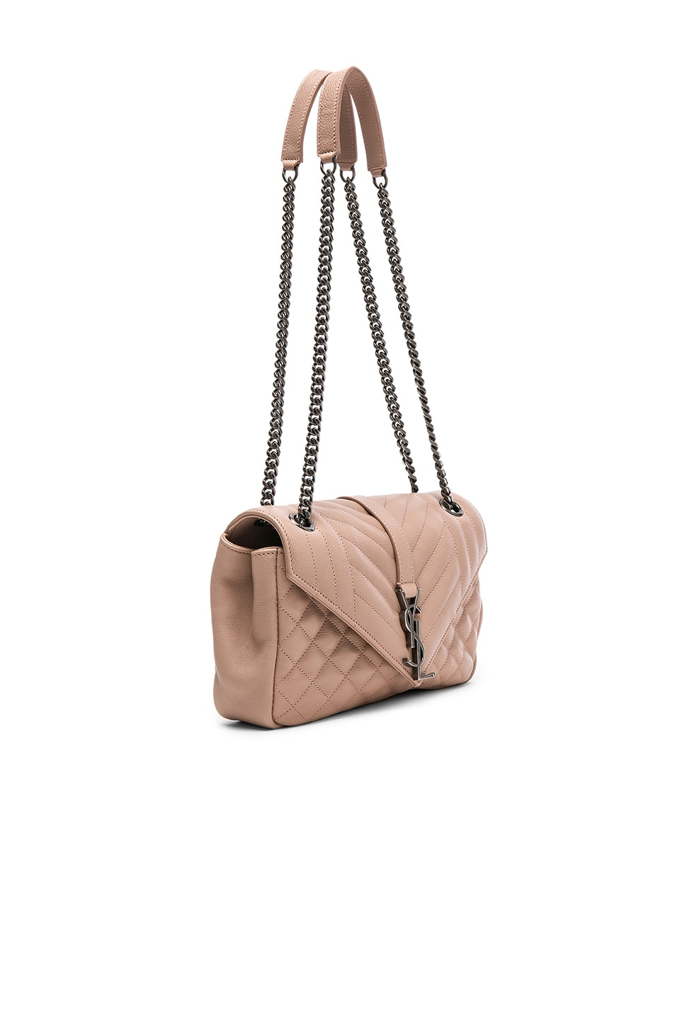Image 3 of Saint Laurent Medium Envelope Chain Bag in Nude Pink