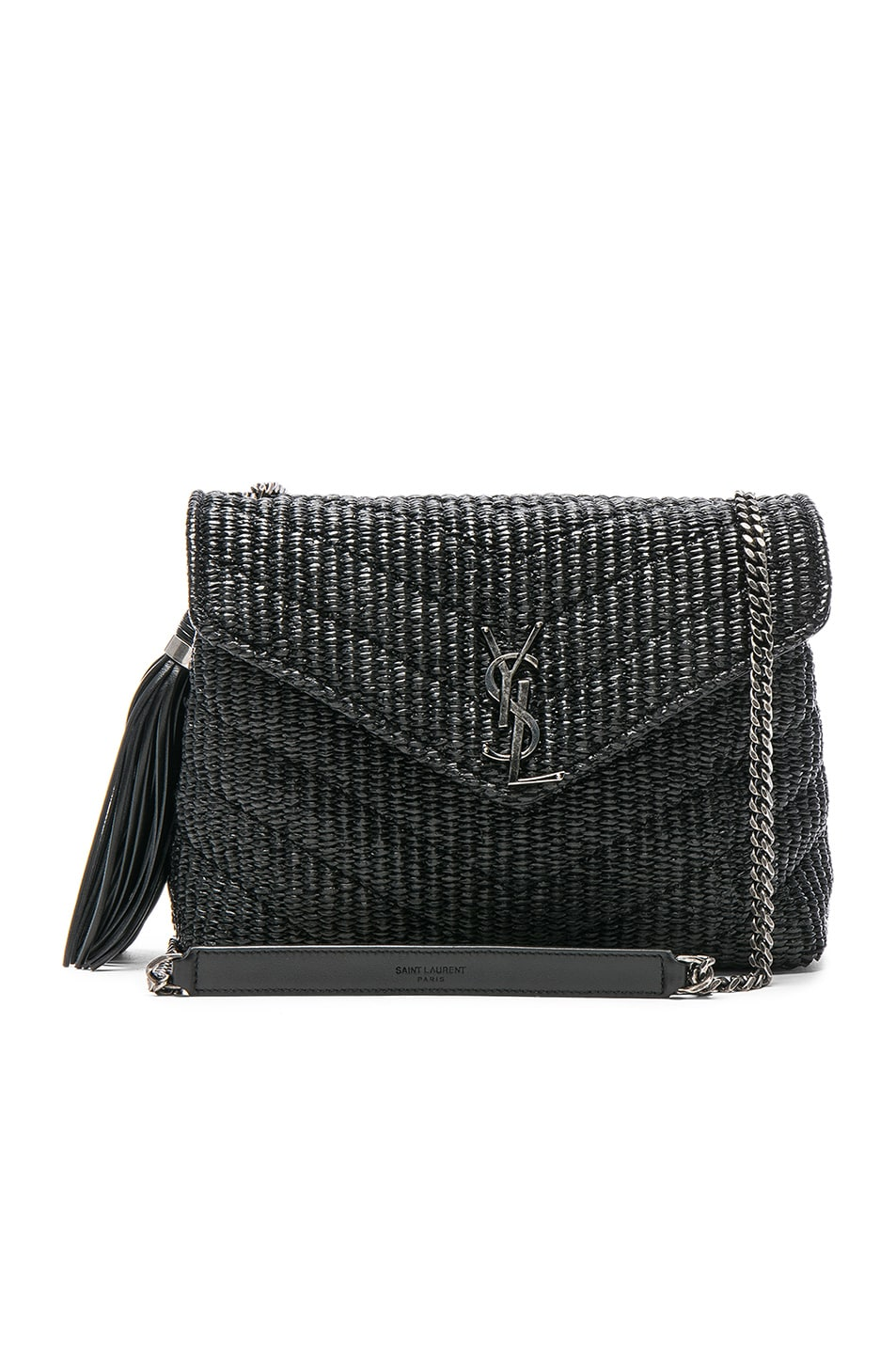 Image 1 of Saint Laurent Small Raffia Soft Chain Bag in Black