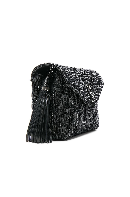 a24ea58642 Image 4 of Saint Laurent Small Raffia Soft Chain Bag in Black