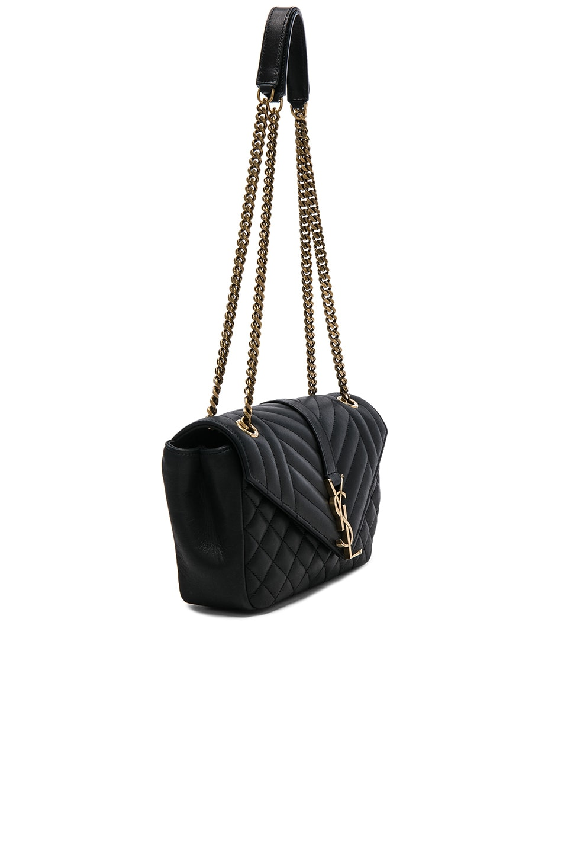 d6a3fc6e61 Image 3 of Saint Laurent Medium Nubuck Envelope Chain Bag in Black