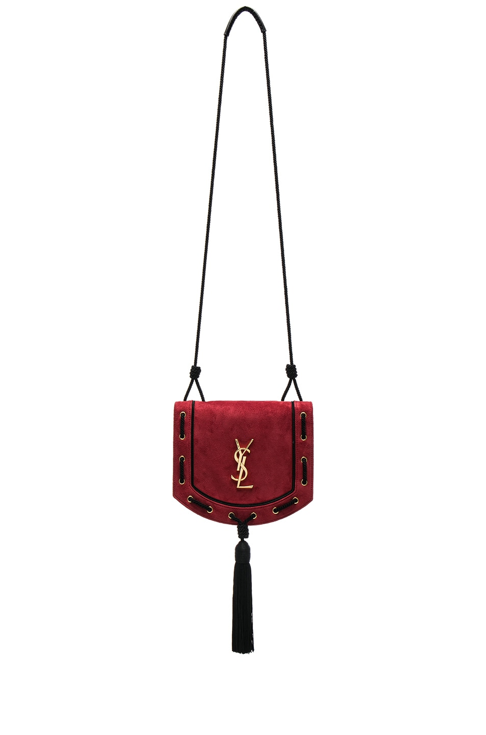 Image 1 of Saint Laurent Medium Monogramme Fetish Satchel in Lipstick Red & Black