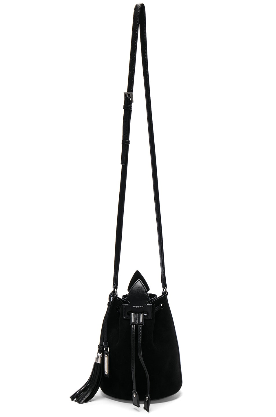 Image 1 of Saint Laurent Anja Suede Bucket Bag in Noir