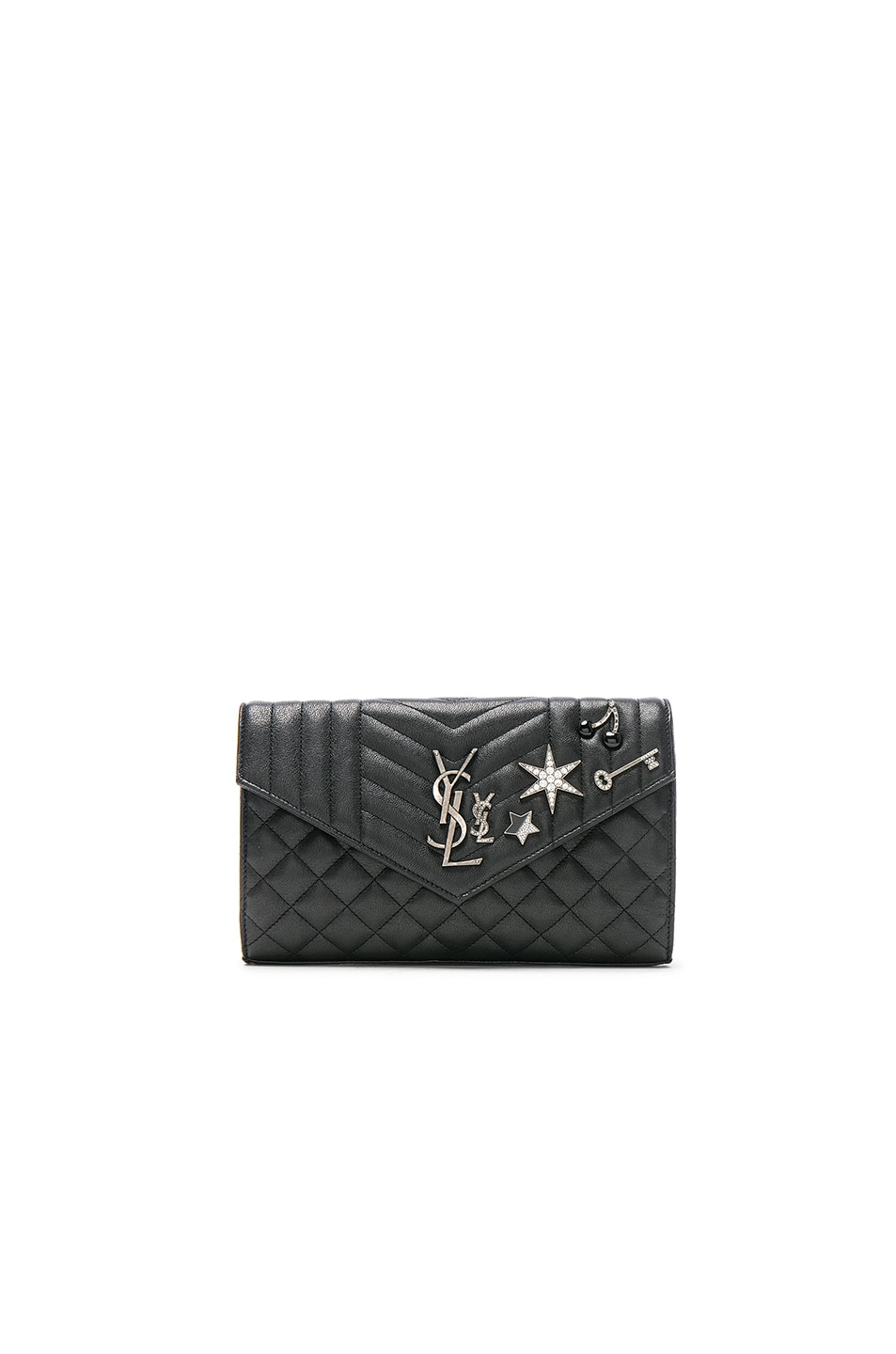 Image 1 of Saint Laurent Embellished Monogramme Envelope Chain Wallet in Black