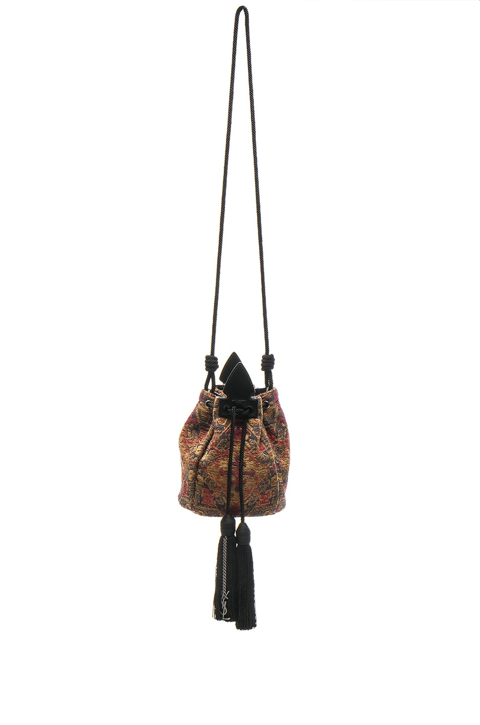 Image 1 of Saint Laurent Anja Tapestry Bucket Bag in Safran & Rouge