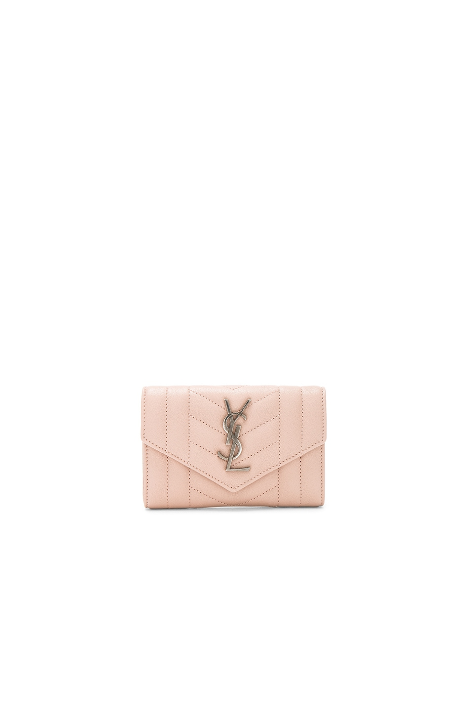 Image 1 of Saint Laurent Small Monogramme Envelope Wallet in Nude Pink