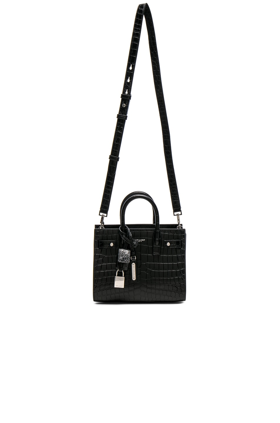 d2dc5920ac2 Image 5 of Saint Laurent Nano Croc Embossed Supple Sac de Jour in Black