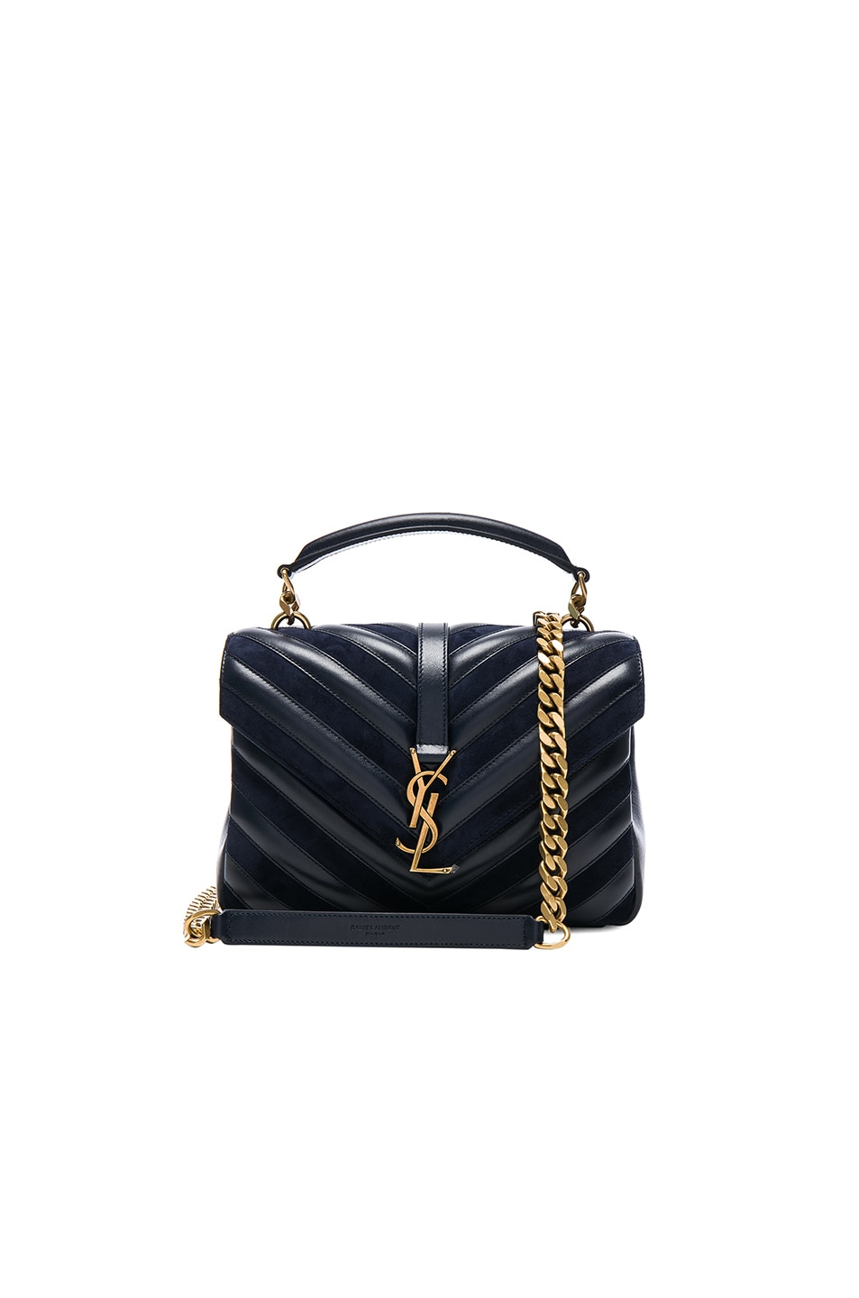 20a4a739a7985 Image 1 of Saint Laurent Medium Leather   Suede Patchwork Monogramme  College Bag in Deep Marine