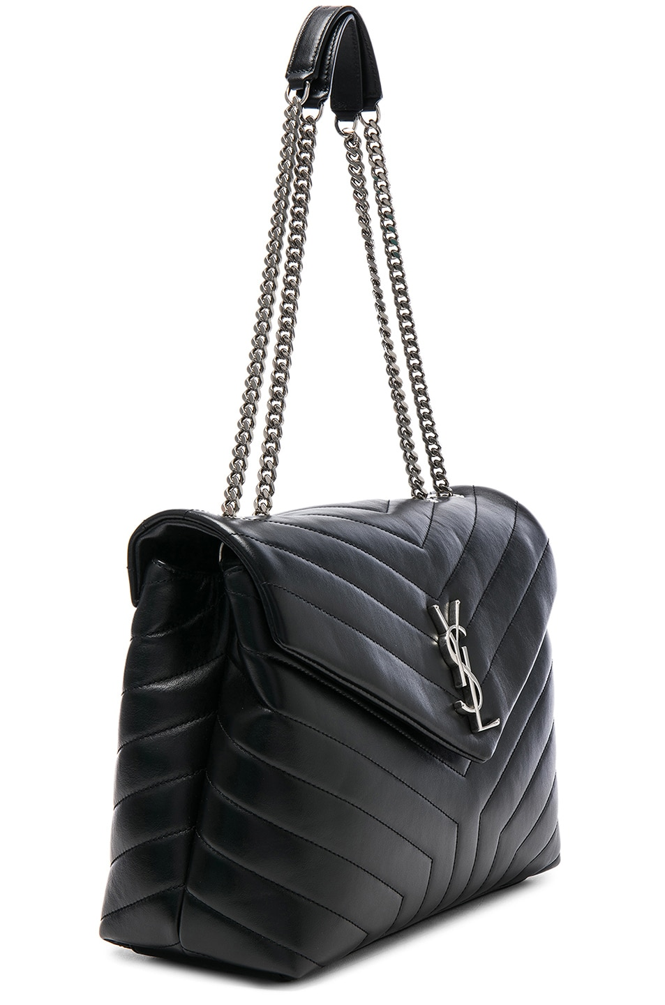 Image 4 of Saint Laurent Medium Supple Monogramme Loulou Chain Bag in Black