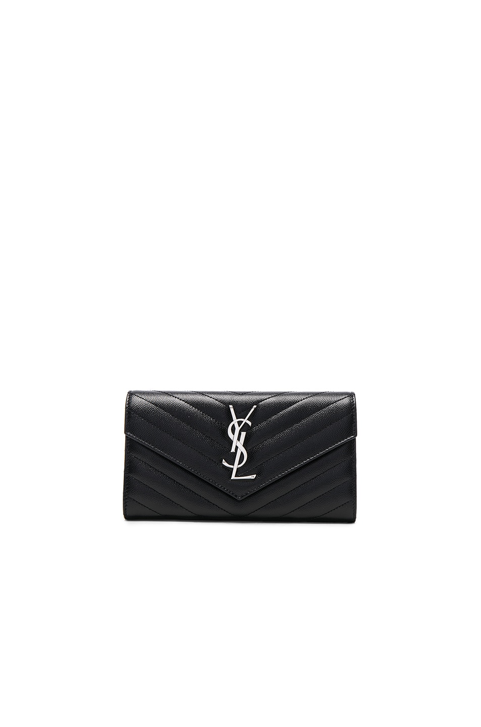 Image 1 of Saint Laurent Large Monogramme Flap Wallet in Black