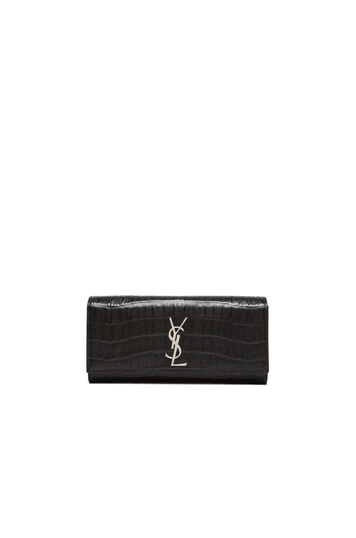 Image 1 of Saint Laurent Monogram Croc Clutch in Black