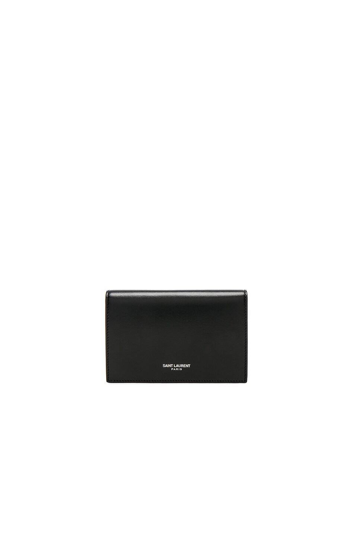 6c75acb751 Saint Laurent Large Fragments Flap Wallet in Black & Black | FWRD