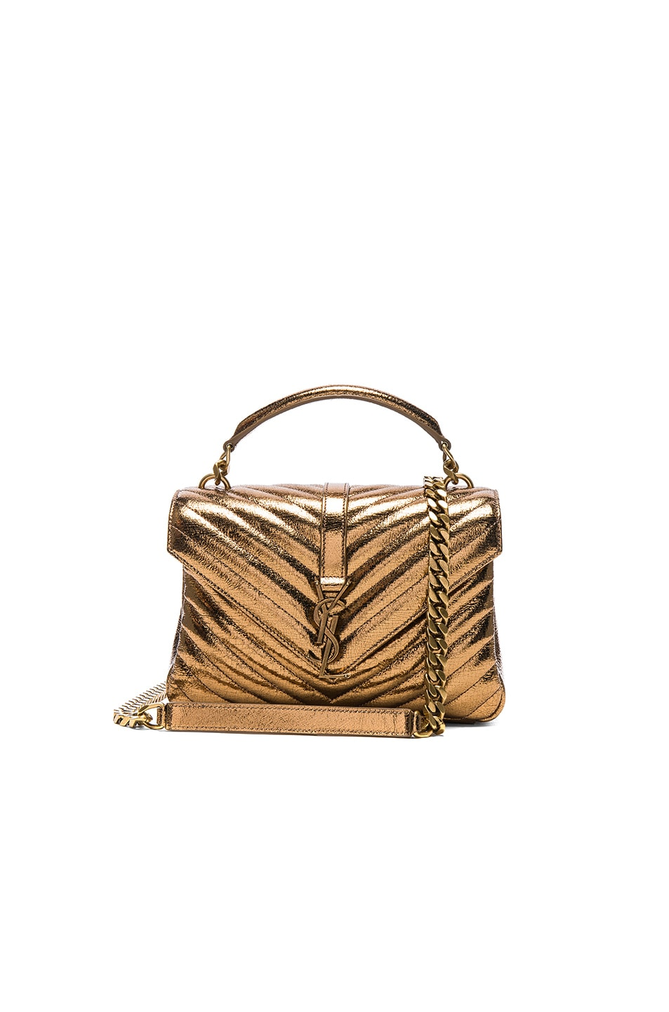 Image 1 of Saint Laurent Medium Metallic Monogramme College Bag in Bronze