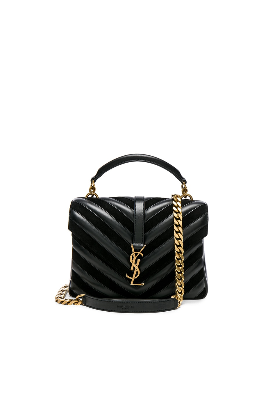 Image 1 of Saint Laurent Medium Leather & Suede Patchwork Monogramme College Bag in Black
