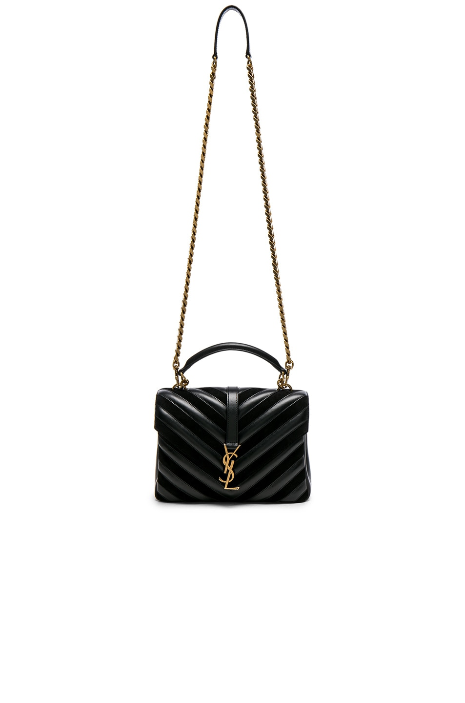 Image 5 of Saint Laurent Medium Leather   Suede Patchwork Monogramme College  Bag in Black 3139c28f67ce9