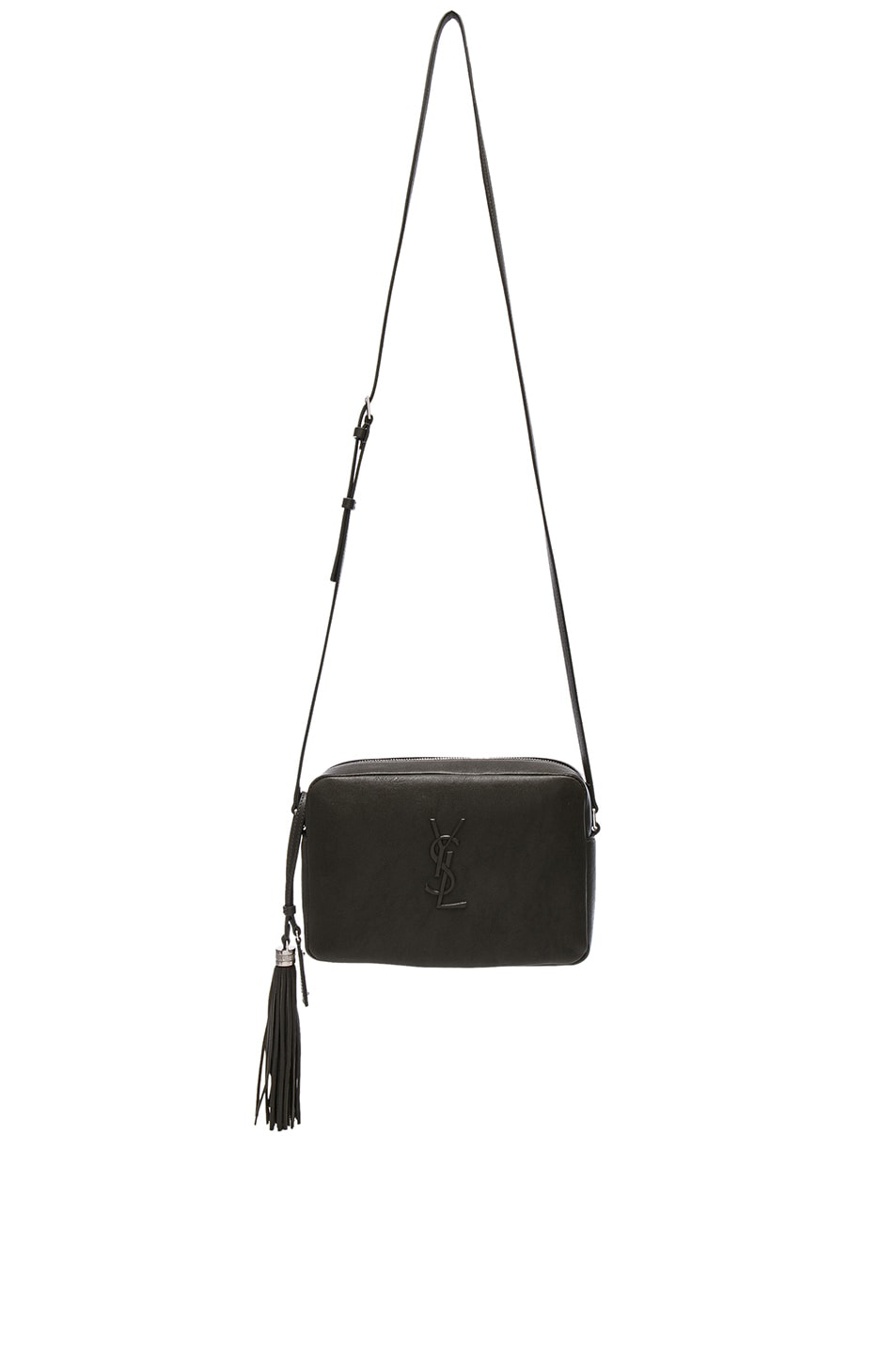 Image 1 of Saint Laurent Medium Logo Embossed Lou Satchel in Army Green