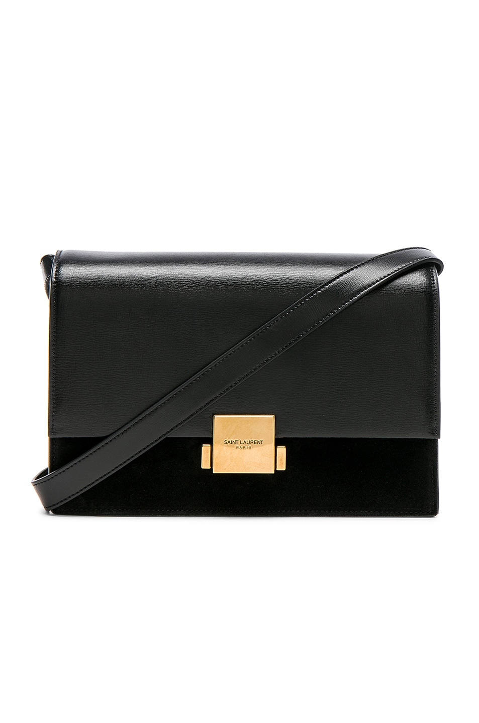 SAINT LAURENT Medium Bellechasse Suede & Leather Shoulder Bag - Black