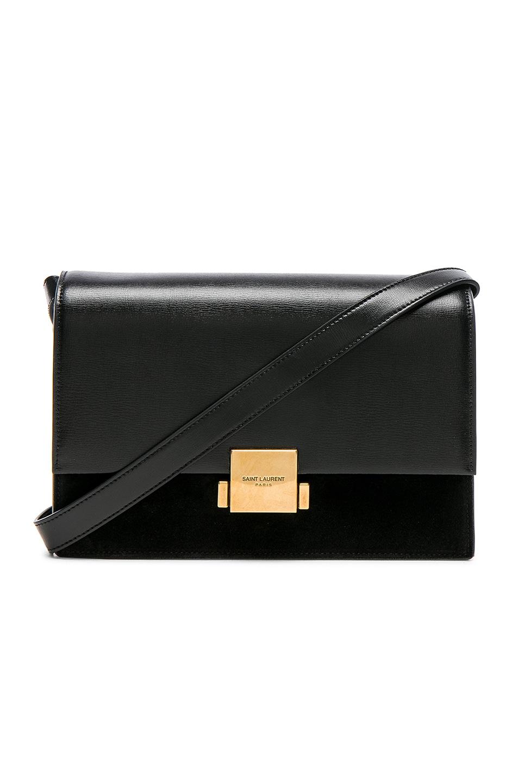 Medium Bellechasse Suede & Leather Shoulder Bag - Black