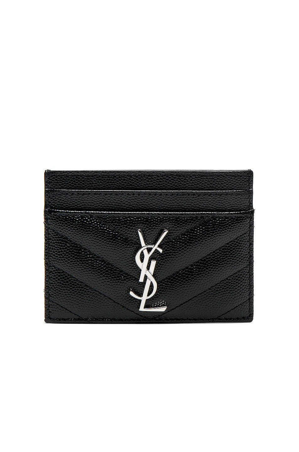 Image 1 of Saint Laurent Monogramme Credit Card Case in Black
