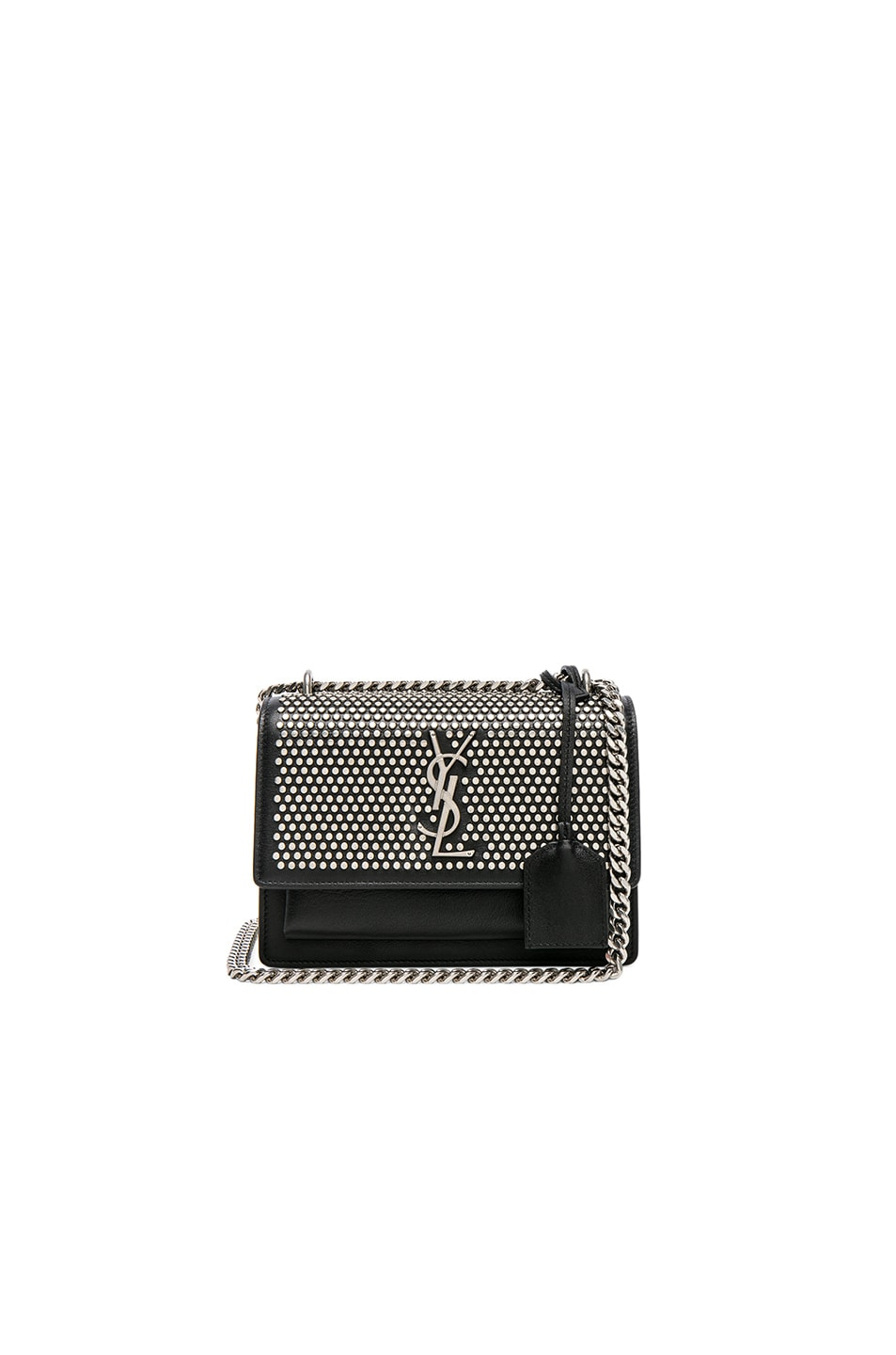 2615c0f7286bf Image 1 of Saint Laurent Small Studded Monogramme Sunset Chain Bag in Black