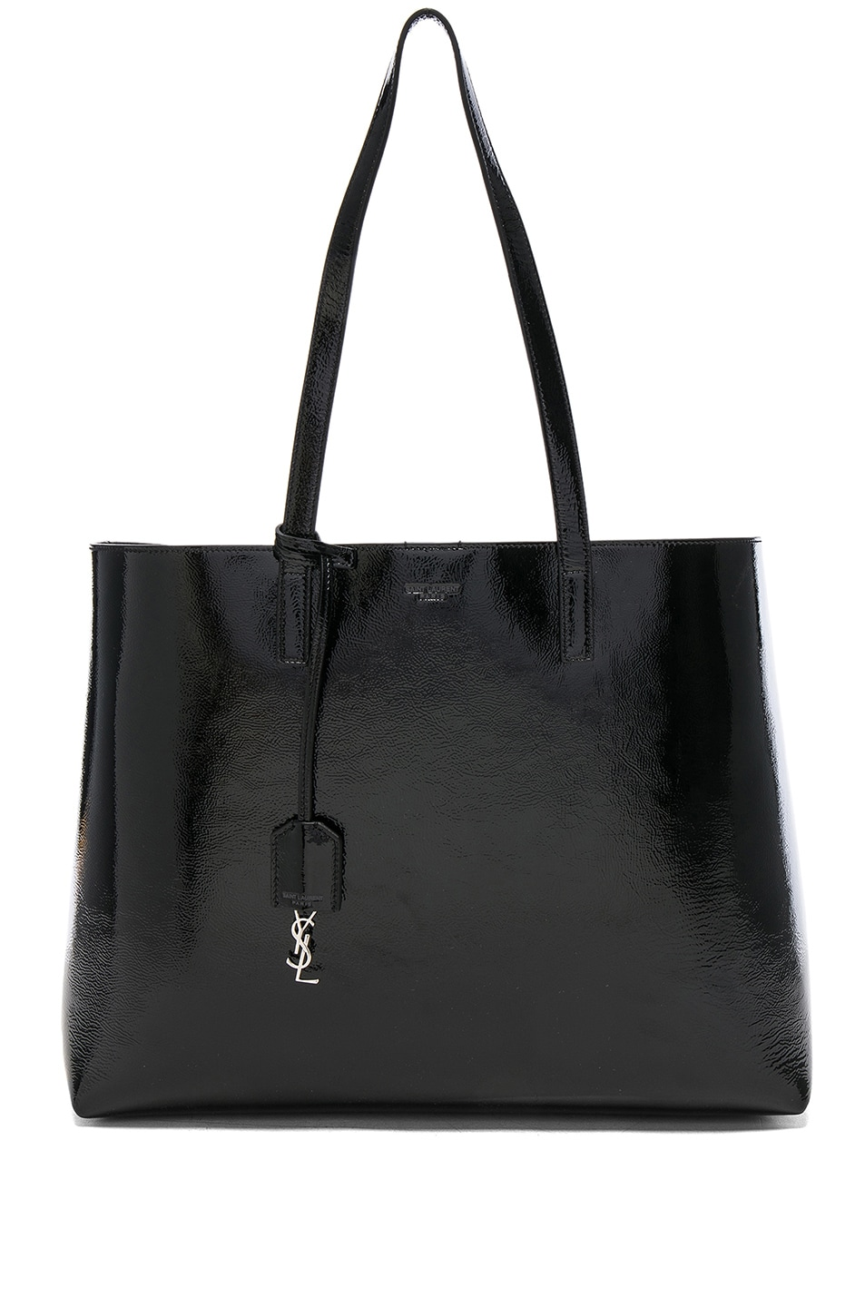 Image 1 of Saint Laurent Patent Leather East West Shopping Bag in Black