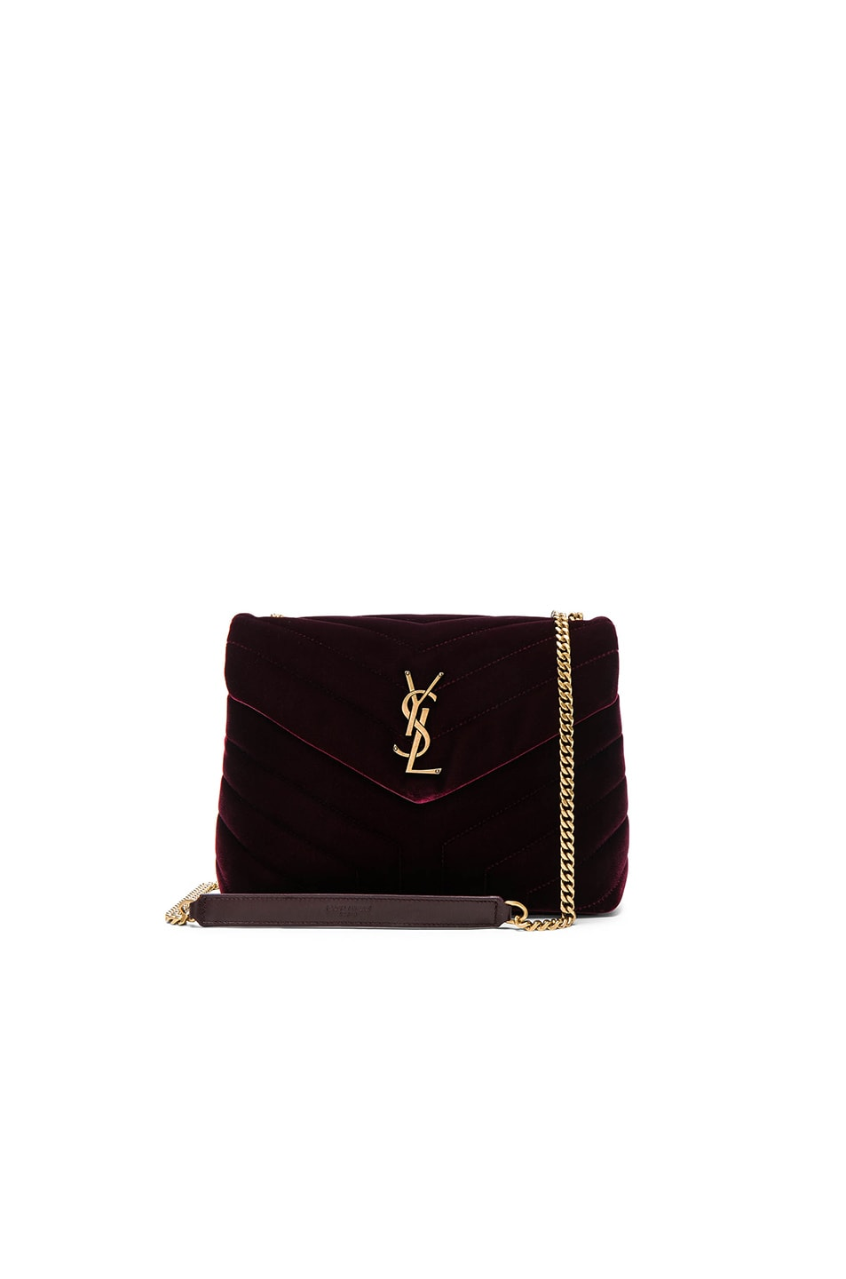 Image 1 of Saint Laurent Small Velvet Monogramme Loulou Chain Bag in French Burgundy