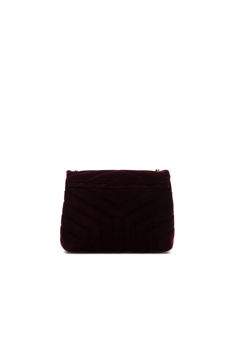 Image 2 of Saint Laurent Small Velvet Monogramme Loulou Chain Bag in French Burgundy