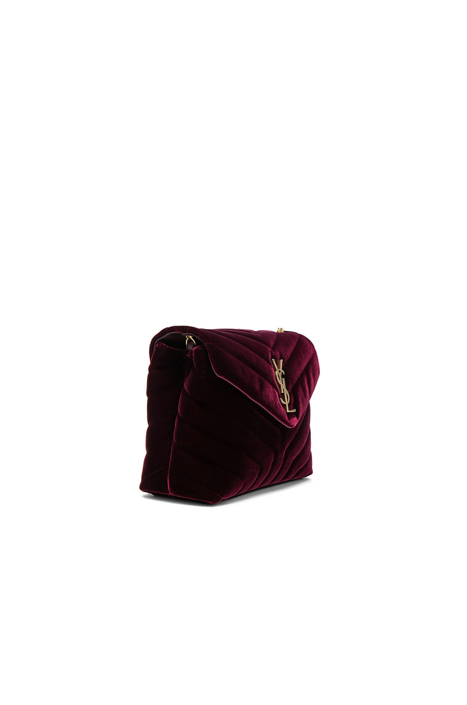 Image 3 of Saint Laurent Small Velvet Monogramme Loulou Chain Bag in French Burgundy