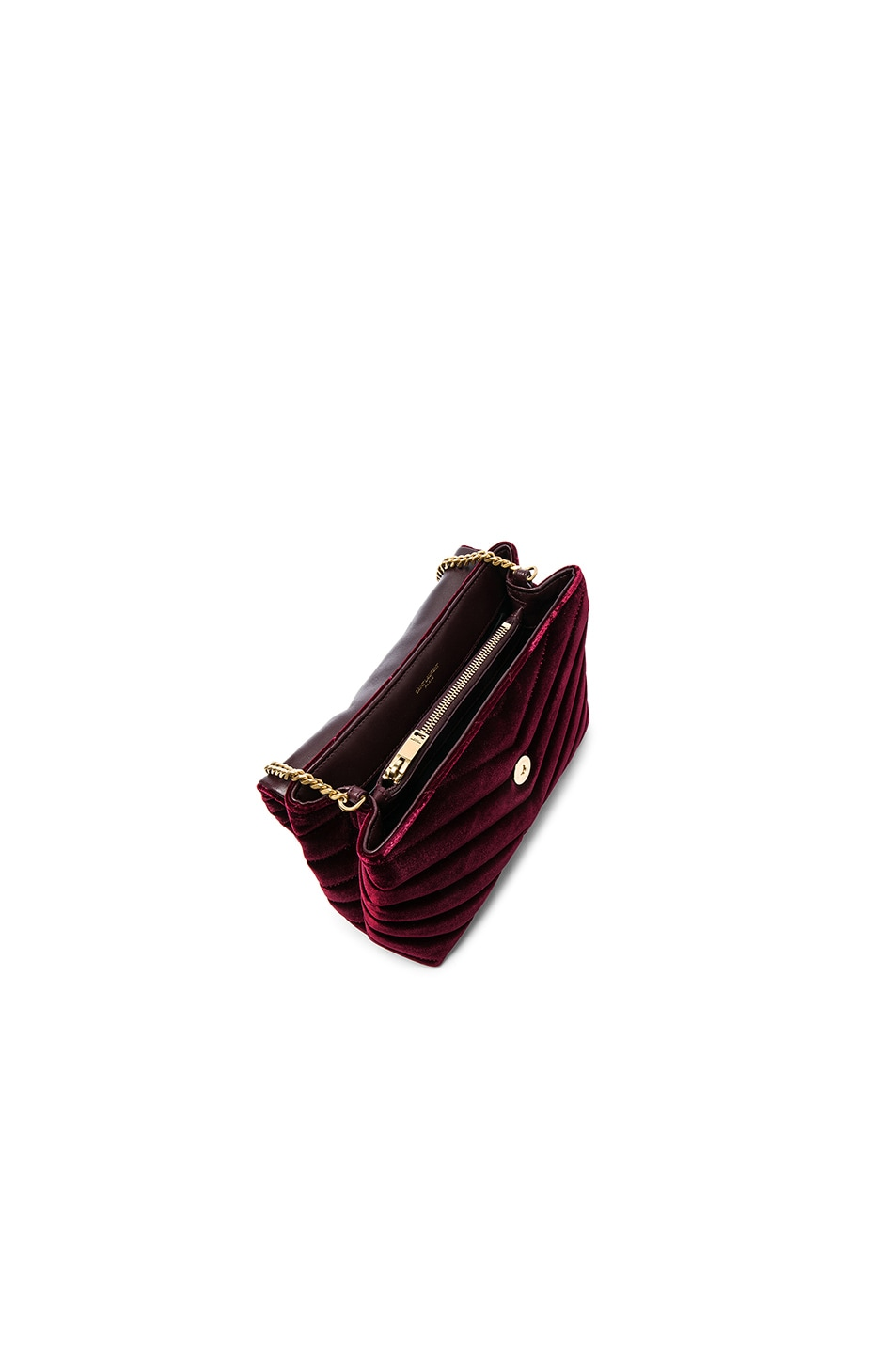 Image 4 of Saint Laurent Small Velvet Monogramme Loulou Chain Bag in French Burgundy