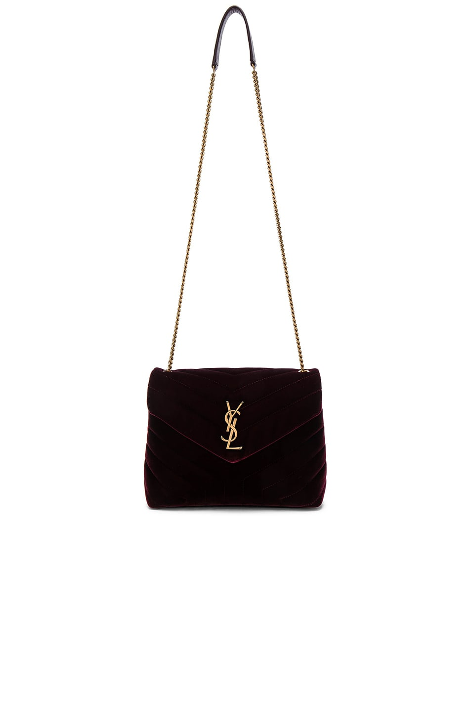 Image 5 of Saint Laurent Small Velvet Monogramme Loulou Chain Bag in French Burgundy